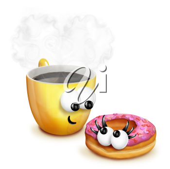 Royalty Free Clipart Image of a Coffee and Doughnut