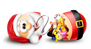 Royalty Free Clipart Image of a Broken Santa With Toys Inside