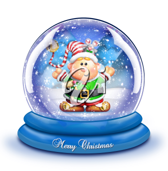 Royalty Free Clipart Image of a Snow Globe With an Elf