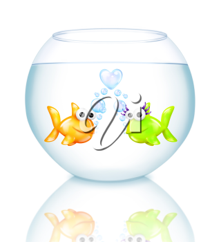 Royalty Free Clipart Image of Two Fish in a Bowl
