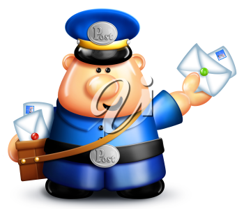 Royalty Free Clipart Image of a Mail Carrier