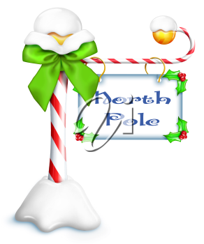 Royalty Free Clipart Image of a Sign for the North Pole