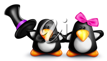 Royalty Free Clipart Image of a Penguin in a Top Hat and a Girl Penguin With a Pink Bow