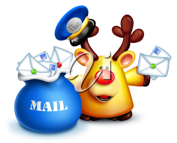 Royalty Free Clipart Image of a Reindeer Mail Carrier