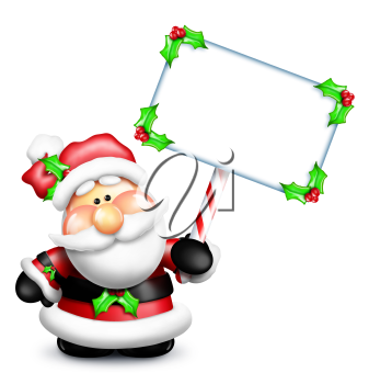 Royalty Free Clipart Image of Santa With a Frame