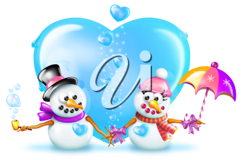 Royalty Free Clipart Image of Two Snowmen and a Heart