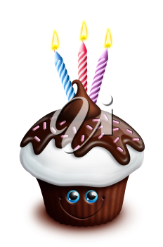 Royalty Free Clipart Image of a Birthday Cupcake