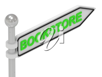 Royalty Free Clipart Image of the Word Bookstore on a Sign