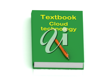 Royalty Free Clipart Image of a Book With the Words Textbook Cloud Technology