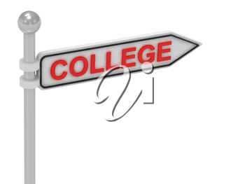 Royalty Free Clipart Image of an Arrow Sign With the Word College