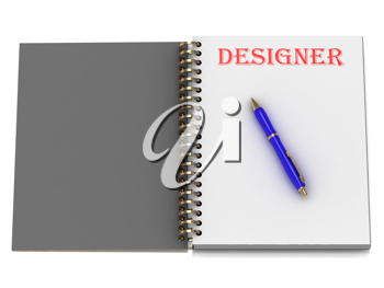 Royalty Free Clipart Image of a Book With the Word Designer