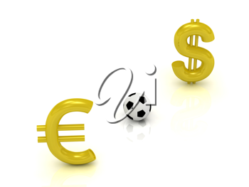 Royalty Free Clipart Image of a Euro and Dollar Sign With a Soccer Ball Between