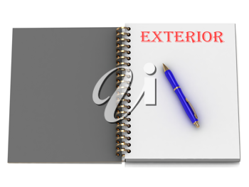 Royalty Free Clipart Image of a Book With the Word Exterior