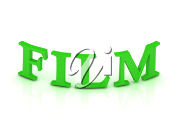 FILM sign with green letters on isolated white background