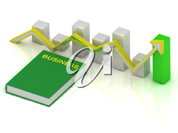 Royalty Free Clipart Image of a Graph and Book