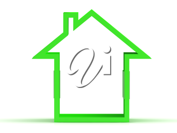 Royalty Free Clipart Image of a Green House Outline