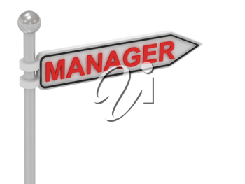 Royalty Free Clipart Image of an Arrow Sign With the Word Manager