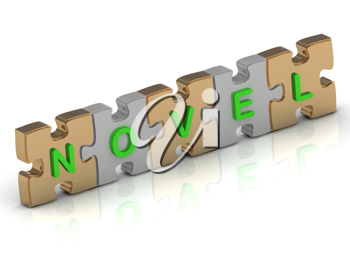 Royalty Free Clipart Image of a Jigsaw Puzzle With the Word Novel