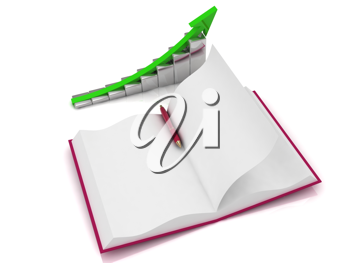 Royalty Free Clipart Image of a Book and Graph