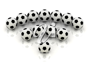 Royalty Free Clipart Image of an RSS Symbol Made From Soccer Balls