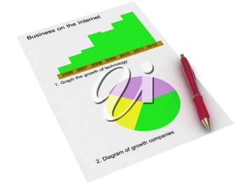 Royalty Free Clipart Image of Two Charts and a Pen