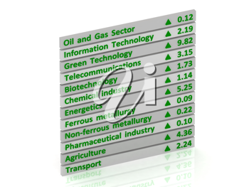 Royalty Free Clipart Image of Table Growth Indicators
