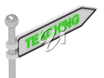Royalty Free Clipart Image of an Arrow Sign With the Word Teaching