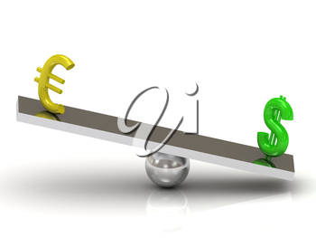 Balance green Dollar and the Euro on the rocking polished board