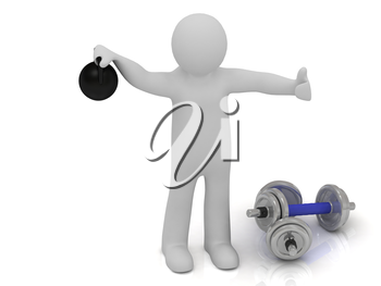 3d man holds up a heavy weight on a white background