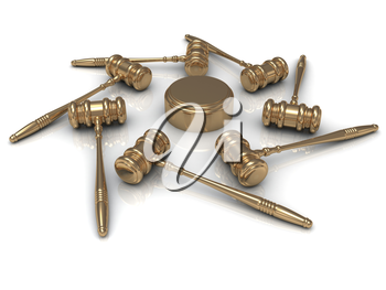 Abstract image 7 golden judges gavel and soundblock
