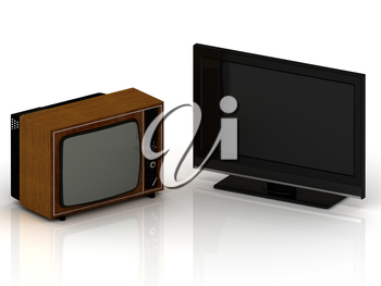 Old TV in a wooden case and a new LSD TV set on a white background