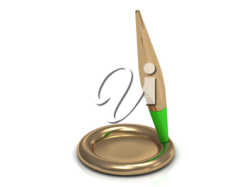 Gold pen with the green part of the golden pedestal