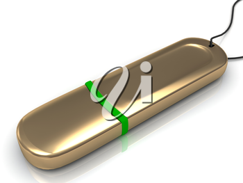 Gold USB flash drive on white background