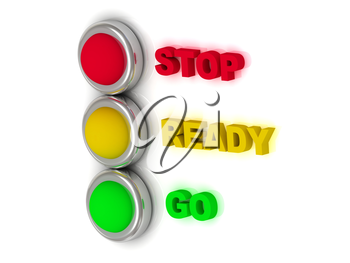Traffic lights with red, yellow and green lights traffic with inscriptions stop, ready, go