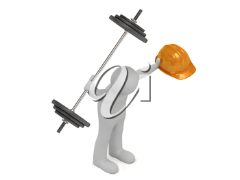 3d man very strong keeps one hand greater barbell and in other hand he keeps orange building helmet