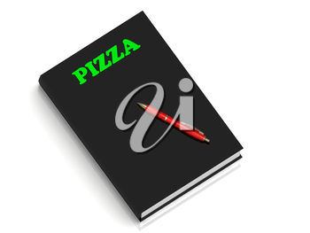 PIZZA- inscription of green letters on black book on white background