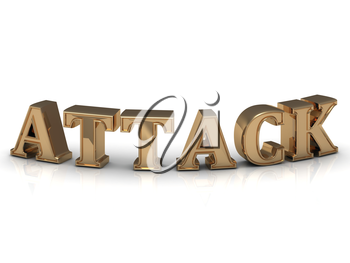 ATTACK- inscription of bright gold letters on white background