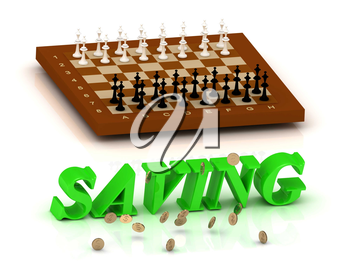 SAVING- inscription of green letters and chess on white background
