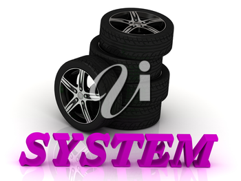 SYSTEM- bright letters and rims mashine black wheels on a white background
