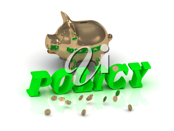 POLICY - inscription of bright green letters and gold Piggy on white background