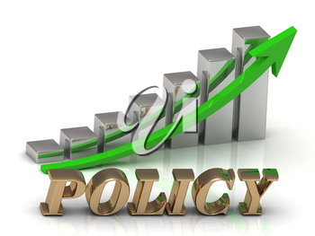 POLICY- inscription of gold letters and Graphic growth and gold arrows on white background