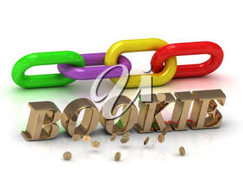 BOOKIE- inscription of bright letters and color chain on white background
