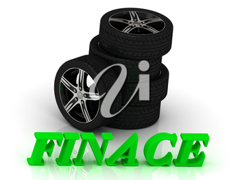 FINACE- bright letters and rims mashine black wheels on a white background