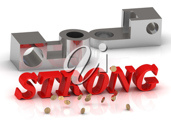 STRONG- inscription of red letters and silver details on white background