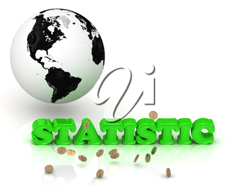 STATISTIC- bright color letters, black and white Earth on a white background