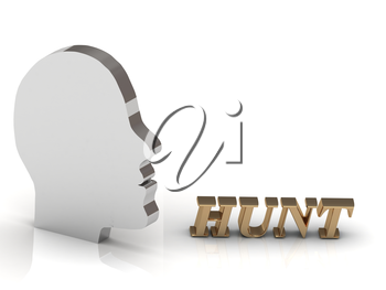 HUNT - bright gold letters and silver head mind technology on a white background