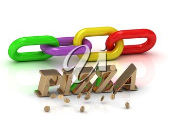 PIZZA- inscription of bright letters and color chain on white background