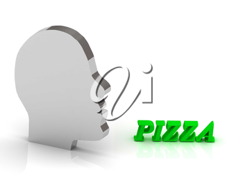 PIZZA - bright color letters and silver head mind on a white background