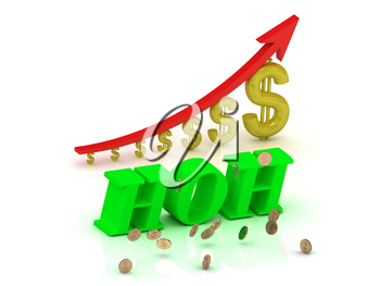 HOH - bright color letters and graphic growing dollars and red arrow on a white background