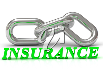 INSURANCE- inscription of color letters and Silver chain of the section on white background